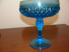 Vintage Blue Glass Diamond Point Candy Dish by catherinefarrens, $9.00