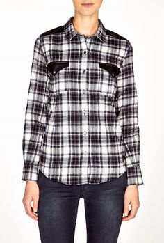 Halton Leather Trim Check Shirt