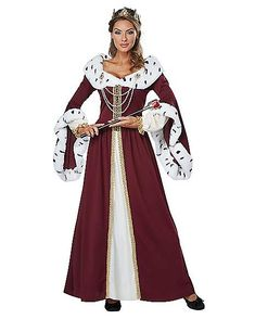 OFF or FREE SHIP -Royal Storybook Queen Adult Costume Large : This noble queen costume looks just like it stepped out of a story book. Costume features a floor-length burgundy gown with gold filigree ribbon, long bell sleeves cuffed in white faux-fur Costume Renaissance, Medieval Costume, Adult Costumes, Costumes For Women, Halloween Costumes, Royal Costumes, Halloween 2020, Halloween Ideas, Princess Costumes