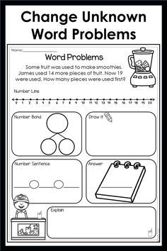 Over pages of word addition and subtraction word problems. First Grade, Second Grade, Kindergarten Preparation, Addition Activities, Number Bonds, Addition And Subtraction, Word Problems, Pictures To Draw, Sentences
