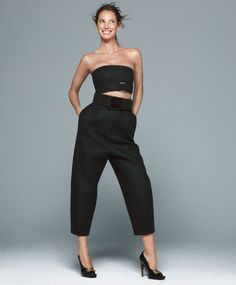 Top, $895, pants, $1,895, belt, and shoes, Calvin Klein Collection. 212-292-9000.   - HarpersBAZAAR.com