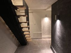 DIY Stairs made out of wood and steel Staircase Ideas, Cellar, Stairways, Finland, Wall Lights, Iron, Steel, Feelings, Lighting