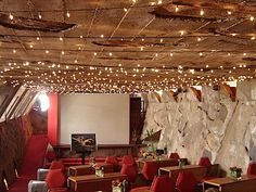 String lights as everyday indoor lighting in Frank Lloyd Wright's winter home. Who knew?