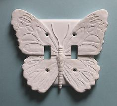 White Butterfly Decor LIght Switch Plate wall cover by Griestal Switch Plate Covers, Light Switch Plates, Light Switch Covers, Butterfly Nursery, Butterfly Bathroom, Plates On Wall, Plate Wall, Butterfly Lighting, White Butterfly