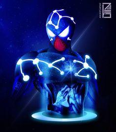 Cosmic Spider-Man Marvel Universe Characters, Marvel Cinematic Universe, Cosmic Spider Man, Spaider Man, Captain Universe, Neon Artwork, Lion Art, Spiderman Art, Comic Movies