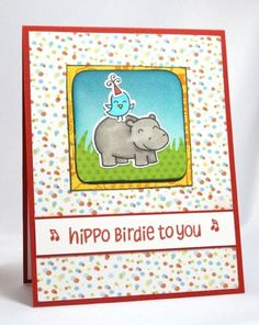 Lawn Fawn - Year Four + coordinating dies, #awesome + coordinating dies _  cute Hippo Birdie To You birthday card by Elizabeth via Flickr - Photo Sharing!