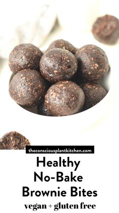 Healthy Brownie Energy Bites perfect vegan snack or dessert, dairy free, raw, no bake, paleo Healthy Vegan Desserts, Healthy Brownies, No Bake Brownies, Healthy Chocolate, Vegan Treats, Healthy Baking, Healthy Snacks, Vegan Gluten Free, Dairy Free