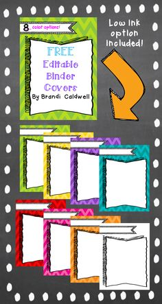 Download these FREE binder covers and EDIT them to include your text! You will be smiling every time you reach for a binder with one of these cute chevron covers! Low ink option included. Perfect for student binders!