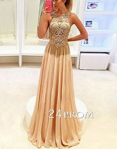 Champagne a-line chiffon sequin long prom dress for teens, formal party long prom dress 2016, modest evening dress