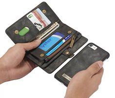 CaseMe 008 iPhone 7 Zipper Wallet Detachable 2 in 1 Retro Flannelette Leather Folio Case Black