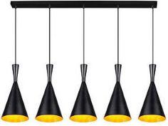 Linea Verdace Hanglamp 'Clessidra' 5-lamps, kleur zwart / goud