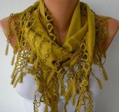 Mustard Scarf   Pashmina  Scarf  Headband Necklace by fatwoman, $13.50