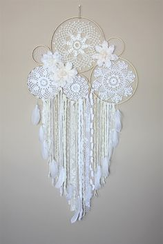 Large Dream Catcher Wall Hanging-Wedding Decor-White Cream
