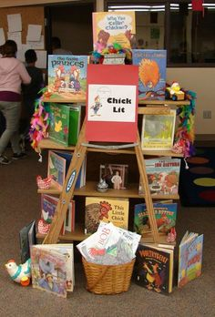 Chick Lit... chickens or girlie books.  Old ladder with bookshelves. Library Displays
