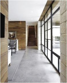 Pros And Cons Of Concrete Flooring Concrete Floors! Love the contrast of the wood and the concrete floor…. step down to concrete floorsConcrete Floors! Love the contrast of the wood and the concrete floor…. step down to concrete floors