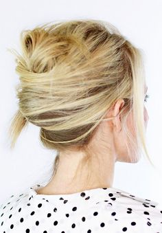 Tousled french twist hairstyle.