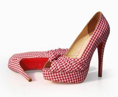 Ultimate Drool.....Christian Louboutin 2011 Greissimo-Red-White- Gingham-Knot-Pumps