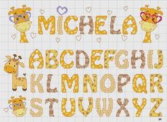 I really love this X-stitch alphabet and the cute giraffes Cross Stitch Letters, Cross Stitch Baby, Cross Stitching, Cross Stitch Embroidery, Crochet Cross, Hand Embroidery Patterns, Christmas Cross, Le Point, Letters And Numbers