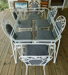Vintage Salterini White Wrought Iron Table and Chair Set of 7 | eBay -- offered for $795