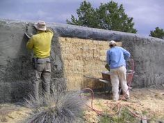 DIY stucco fence w/straw bale--built with a layer of tar paper and chicken wire on top. This helps to shed water off to the sides instead of soaking into the bales.