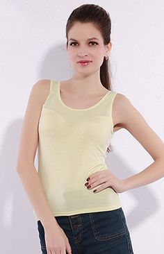 148c7a3c9bb4f MODAL Womens Round Neck Built-in Bra Padded Sleeveless Tank Top  Buy Now  from Amazon