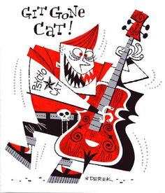 Psycho cat Ink by Derek Yaniger Rockabilly Artwork, Pinstriping Designs, Art Beat, Music Illustration, Retro Cartoons, Mid Century Art, Retro Art, Illustrators, Graphic Art
