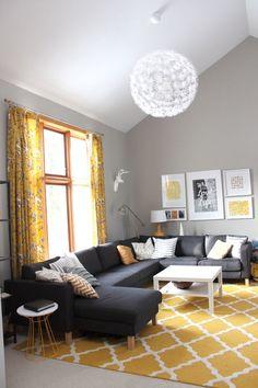 Salas de estar - cinza & amarelo