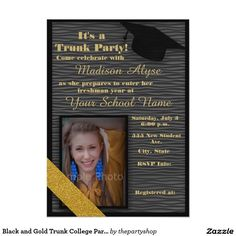 Black and Gold Trunk College Party Photo Card                                                                                                                                                      More