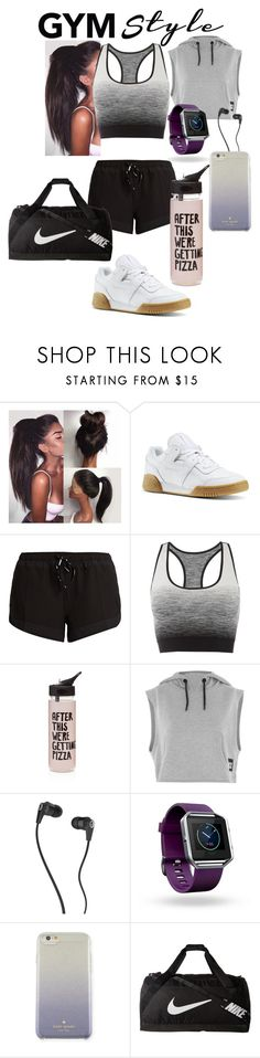 """Work it Out: Gym Style"" by sleepyfangirl ❤ liked on Polyvore featuring Reebok, The Upside, Pepper & Mayne, ban.do, Topshop, Skullcandy, Fitbit, Kate Spade, NIKE and gymessentials"