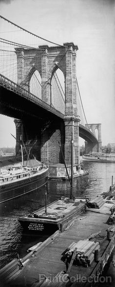 Brooklyn Bridge Vertical, photographed by George P Hall & Son, No. 157 Fulton St., New York in 1896 as a 29 x 12 inch albumen print.
