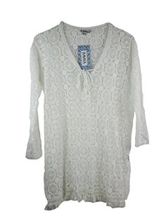 Raviya Womens 34 Sleeve Crochet Lace Tunic Swim CoverUp Small White *** More info could be found at the image url.  This link participates in Amazon Service LLC Associates Program, a program designed to let participant earn advertising fees by advertising and linking to Amazon.com.