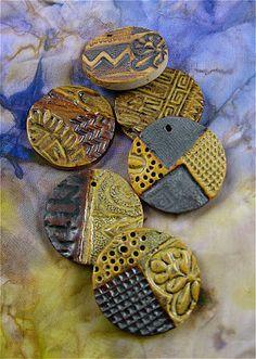 Stamped & textured, glazed ceramic beads