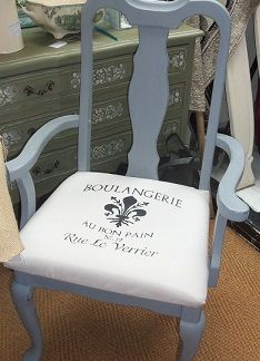 One of my favourite things to do is a whole dining set.  In love with Queen Ann style furniture - this is done in French Grey by Autentico Chalk Paints.  Hand painted the seat cushion using a stencil from Maison de Stencil - you can use any Autentico paint colour to fabric paint - just add fabric medium.  You can learn how to do all of this @Matt Valk Chuah Crafty Nest UK in the revamp a chair class.  https://www.facebook.com/TheCraftyNest  www.craftynest.co.uk