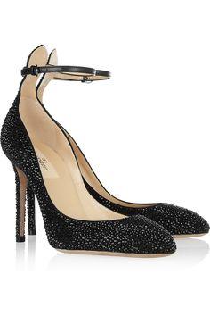 Valentino|Crystal-embellished suede pumps
