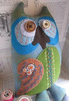 Decorative Textile Owl 'Rocca' in Pale Sage by murgatroydandbean, £32.00