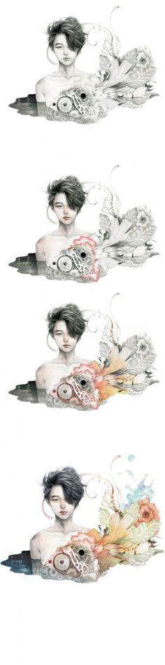 태엽 빠진 소년 - 디지털아트, 드로잉, 일러스트