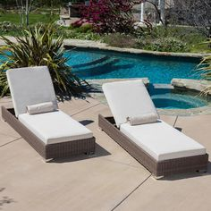 Lounge in the outdoors in modern style and comfort with the Zendaya Chaise Lounge Chair. Constructed from all-weather resistant wicker wrapped around an iron frame, the Zendaya Chaise Lounge Chair is Pool Lounge Chairs, Patio Chaise Lounge, Deck Chairs, Outdoor Sofa, Outdoor Decor, Outdoor Seating, Pool Furniture, Outdoor Furniture, Furniture Movers