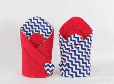 MAMO-TATO Rożek dwustronny minky Zygzak granat / czerwony - MAMO-TATO pościel dziecięca,dla niemowląt,niemowlęca,do łóżeczka,dla dziecka