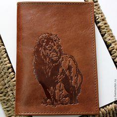 Купить Обложка на паспорт Лев - коричневый, обложка, обложка из кожи, обложка на паспорт, обложка на документы