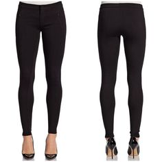 VINCE Black Skinny Riding Leggings S| 4. Worn twice! Seams contour these soft, structured jersey Vince leggings for a tailored jodhpur feel. On-seam zip pockets detail the front. Hook-and-eye closure and zip fly. Fabric: Mid-weight jersey. 67% viscose/28% polyamide/5% elastane. MEASUREMENTS Rise: 8in / 20cm Inseam: 30in / 76cm Vince Pants