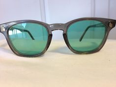 22ca2d5db2 AO American Optical Safety Sunglasses New Green Lens Frames 48 Eye Eyeglass