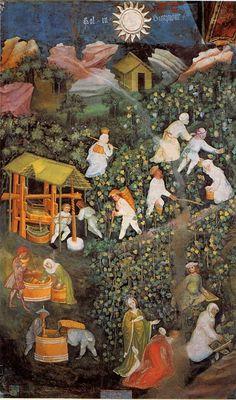 OTTOBRE. Vendemmia - Maestro Venceslao, Ciclo dei Mesi (fine XIV sec. - inizi XV sec.), Torre Aquila, Castello del Buonconsiglio, Trento.