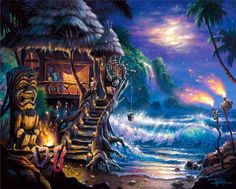 tiki-hut-shack-art-print-thor-hawaii-island-beach_330445436872.jpg (600×481)