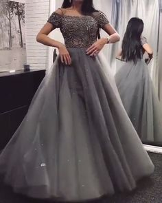 Gray Prom Dresses Long Off the Shoulder Beading Evening Party Dresses gray ball gowns I the Grey Prom Dress, Long Gown Dress, The Dress, Long Dress Party, Dress Wedding, Grey Gown, Dress Formal, Dress Casual, Dresses Elegant
