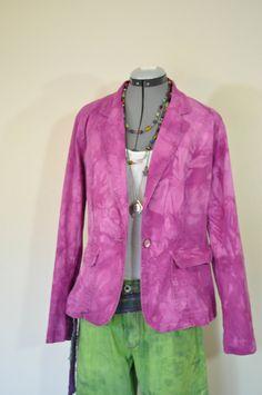 64bae569849 Fuchsia 14 16 XL Denim JACKET - Magenta Pink Dyed Upcycle Faded Glory Denim  Trucker Jacket - Adult Women Plus Size Extra Large (46