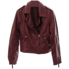 Red Burgundy Leather Jacket SpredFashion (160 BRL) ❤ liked on Polyvore featuring outerwear, jackets, red leather jacket, burgundy leather jacket, red jacket, burgundy jacket and real leather jackets