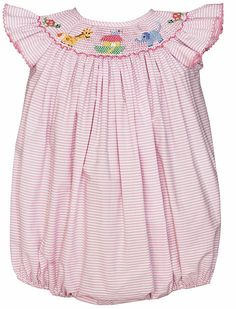 8919a65122b2 Petit Bebe by Anavini Infant Girls Smocked Noah s Ark Animals Bubble - Pink  Stripes