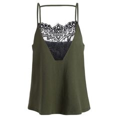 Lace Trim Spaghetti Strap Plus Size Top Army Green 4xl (4.805 HUF) ❤ liked on Polyvore featuring tops, shirts, tank tops, olive shirt, army green shirt, womens plus tops, olive green tank top and plus size shirts