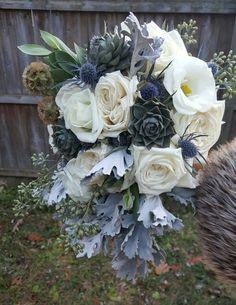 Winter Wedding Bridal Bouquet by M. Dawn Floral Design: roses, dusty miller, succulents,  eryngium, seeded eucalyptus, lisianthus,scabiosa pods