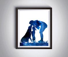 Dogs wall decor Woman with 2 dogs Playing with dogs Dog